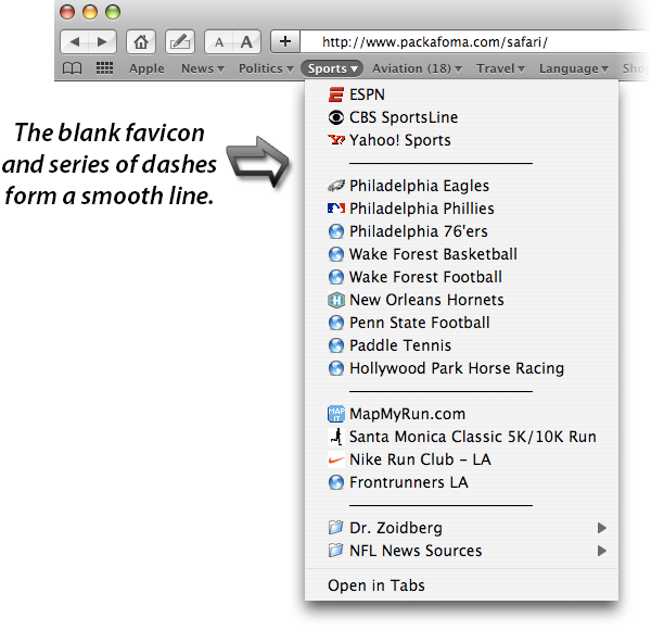 Safari bookmark separator