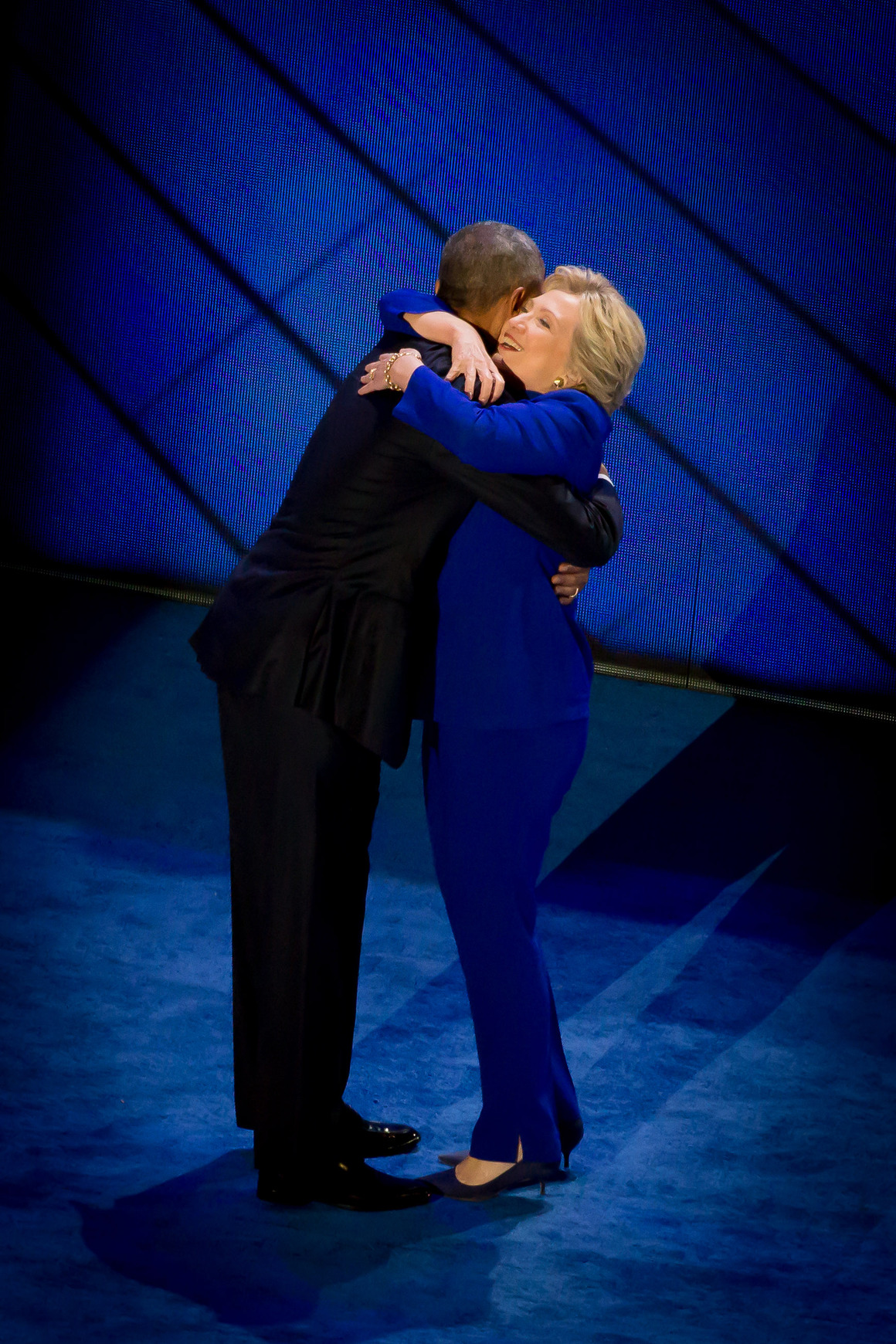 Barack and Hillary hug